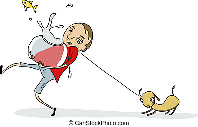young men - Vector Illustration of Funny young fellow taking...