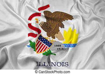 Waving Flag of Illinois State