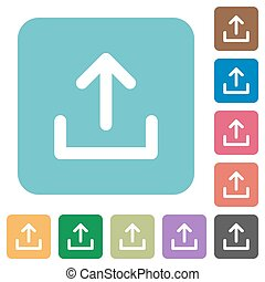 Flat upload icons on rounded square color backgrounds
