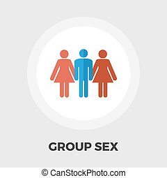 Group sex flat icon - Group sex icon vector. Flat icon...