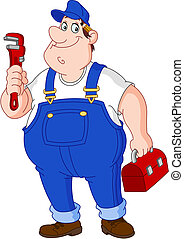 Plumber - Smiley repairman holding big wrench and tool box