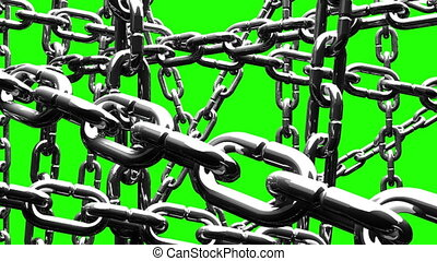Silver Chains Abstract On Green Chroma Key Loop Able