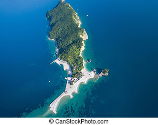 Aerial view of Saint Nicholas Island in Adriatic Sea.