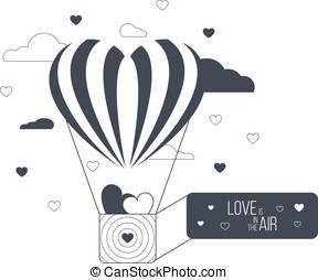 Love is in the air concept. Heart shaped balloon. Red happy...