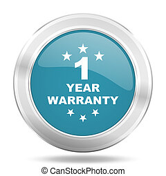 warranty guarantee 1 year icon, blue round glossy metallic...