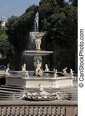 Netuno, chafariz, Boboli, jardins, Florença