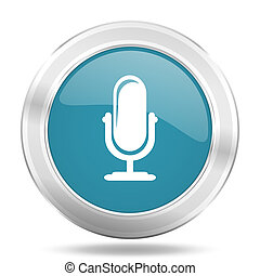 microphone icon, blue round glossy metallic button, web and...