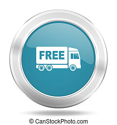 free delivery icon, blue round glossy metallic button, web...