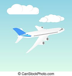 Passenger Airplane. Passenger Airliner. Airplane freight. Aircraft isometric on blue sky background. Civil Aviation. Vector illustration