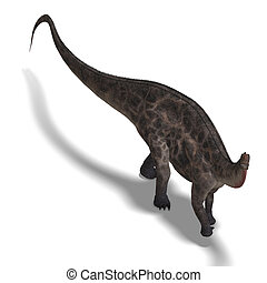 Dinosaur Dicraeosaurus 3D rendering with clipping path and...