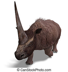 Dinosaur Elasmotherium 3D rendering with clipping path and...