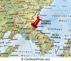 pin set on Pyongyang - Map of North Korea with pin set on...