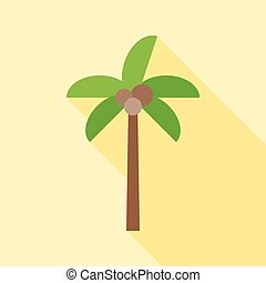 coconut tree icon with long shadow, flat design