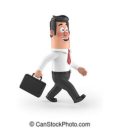 3D funny cartoon manager - 3D funny cartoon character office...