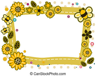 Sunflowers and Bees Frame Design with Clipping Path