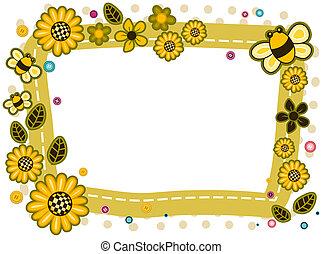 girassóis, abelhas, Quadro, desenho