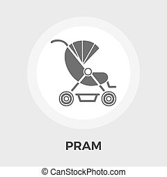 Pram vector flat icon - Pram icon vector. Flat icon isolated...