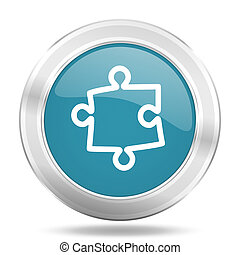 puzzle icon, blue round glossy metallic button, web and...