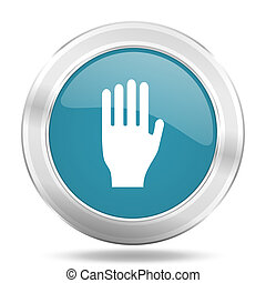 stop icon, blue round glossy metallic button, web and mobile...