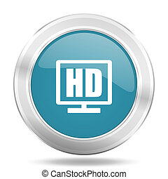 hd display icon, blue round glossy metallic button, web and...