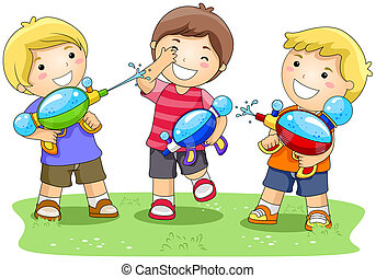 Water Gun - Children playing with Water Gun in the Park with...