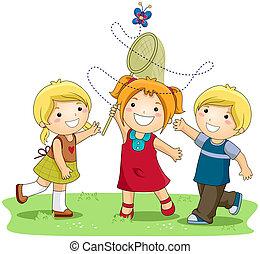 Catching Butterflies - Children catching Butterflies with...