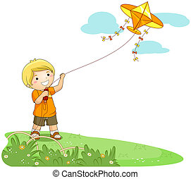 Flying a Kite - Boy flying a Kite with Clipping Path
