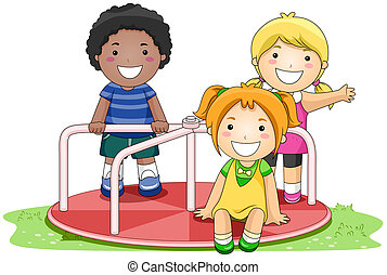 Merry Go Round - Children on Merry Go Round in the Park with...