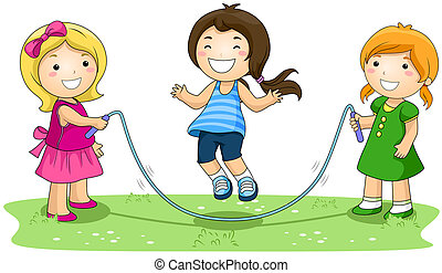 Jumping Rope - Children jumping Rope in the Park with...