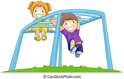 Monkey Bar - Children on Monkey Bar in the Park with...
