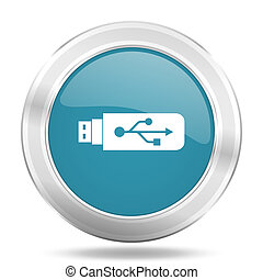 usb icon, blue round glossy metallic button, web and mobile...
