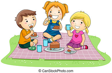 Eating Cake - Children eating Cake in the Park with Clipping...