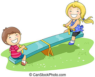 Seesaw - Children on Seesaw in the Park with Clipping Path