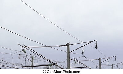 High-voltage network in the village full HD