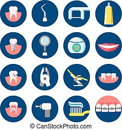 Dental clinic services flat vector icons
