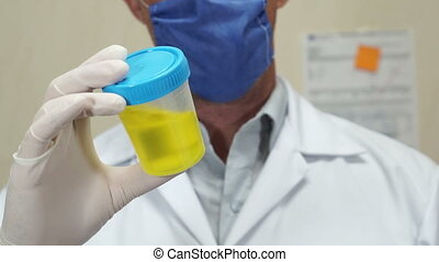 Urinalysis Lab Tech Inspection - Anonymous male laboratory...