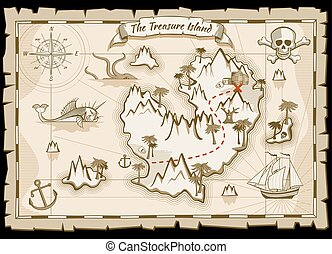 Treasure pirate hand drawn vector map. Pirate map with ship...