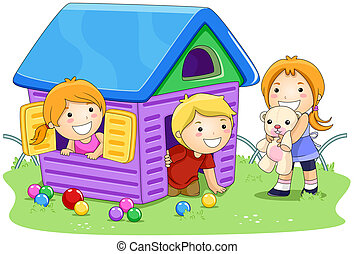 Playing House - Children playing House in the Park with...