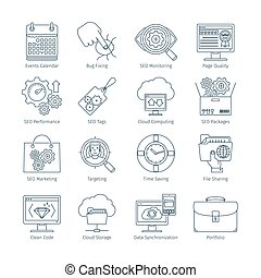 Modern SEO Thin Line Icons 2 - Thin Line Icons Set Of Search...