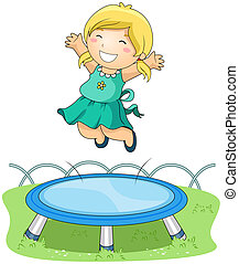 On Trampoline - Girl jumping on Trampoline with Clipping...