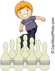 Bowling - Boy playing Bowling with Clipping Path