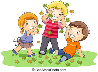 Playing with Leaves - Children playing with Leaves in the...