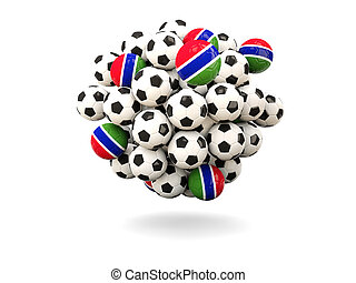 Pile of footballs with flag of gambia 3D illustration