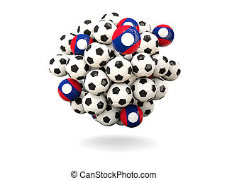 Pile of footballs with flag of laos 3D illustration