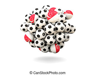 Pile of footballs with flag of singapore. 3D illustration