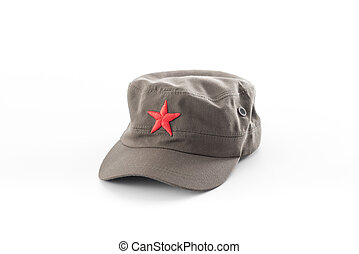 communist hat,red star cap on white background