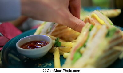 fast food, unhealthy eating, people and junk-food - close up...