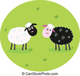 Black and white sheep - The difference - oposite sheep,...
