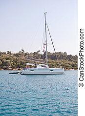 Sailing catamaran in the sea