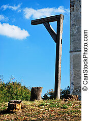 medieval gallows - place of execution with medieval gallows...